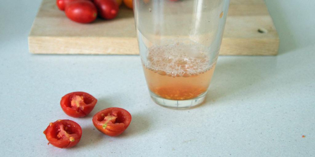 Ausgelöste Tomatensamen im Wasserglas